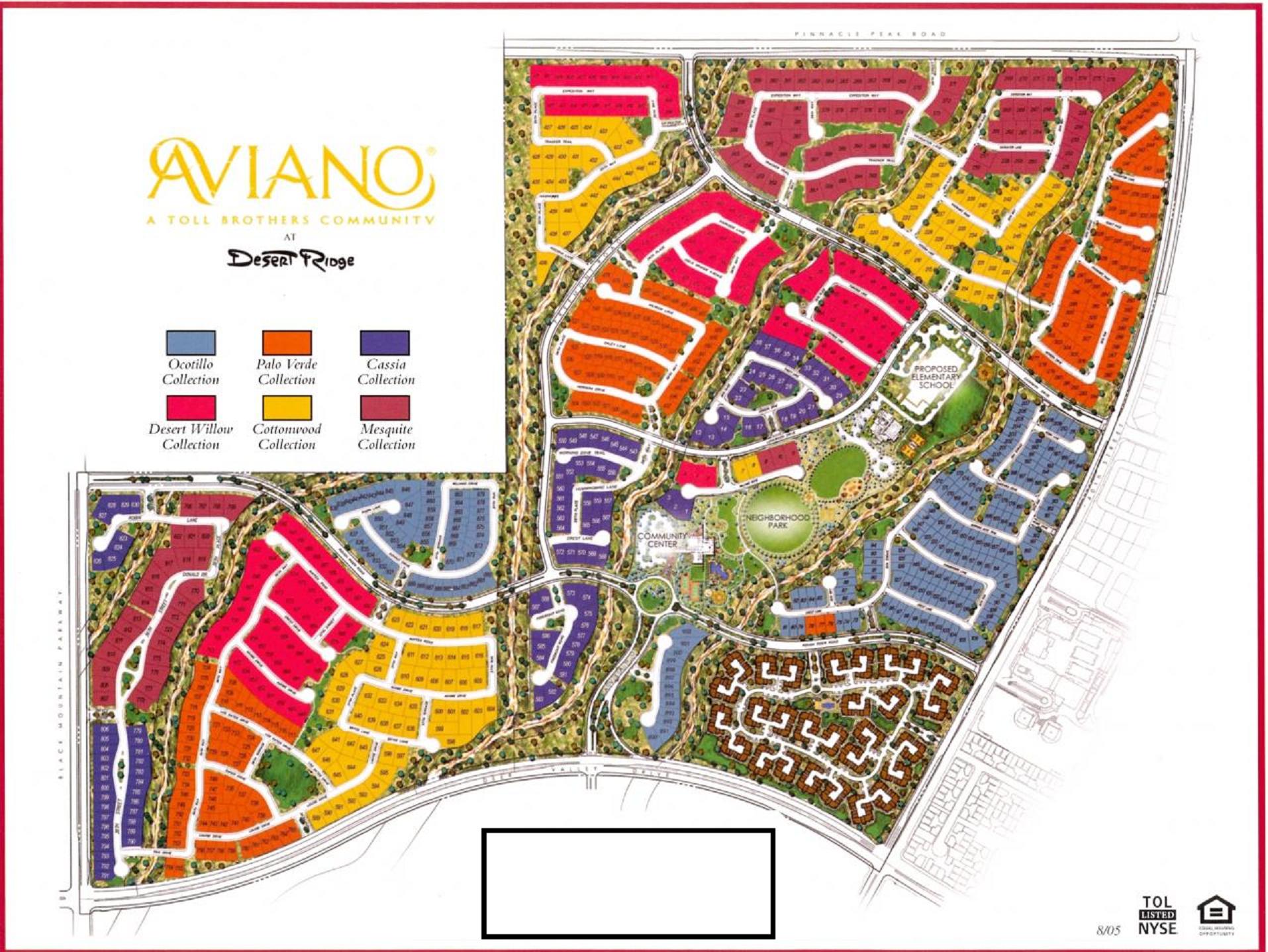 Aviano Subdivision Map Phoenix, AZ